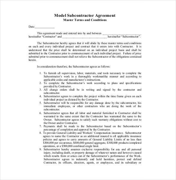 14+ Subcontractor Agreement Templates – Free Sample, Example