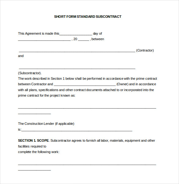 Simple Subcontractor Agreement Template Schreibercrimewatch.org