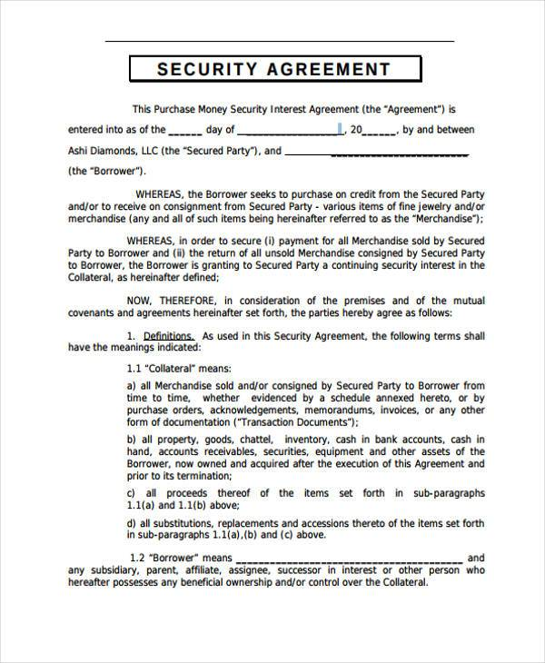 10+ Security Agreement Form Samples Free Sample, Example Format