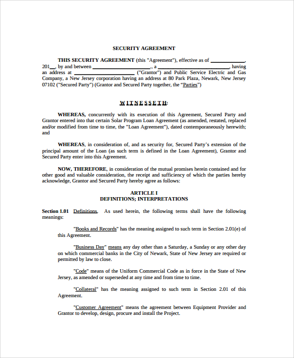 security agreement template sample commercial security agreement