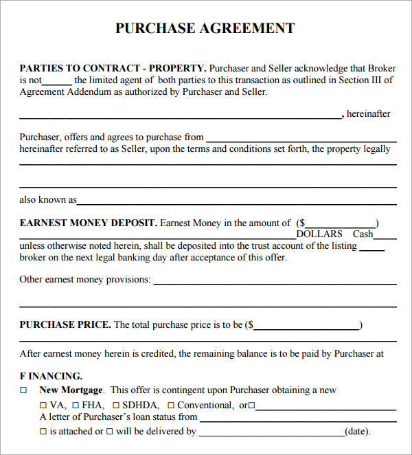 Purchase Agreement Free Document Sample For Buying Or Selling