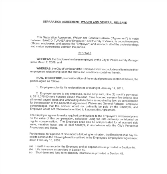 13+ Separation Agreement Templates – Free Sample, Example, Format