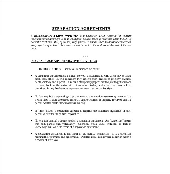 Letter Of Separation From Spouse Template: Separation Agreement Pdf
