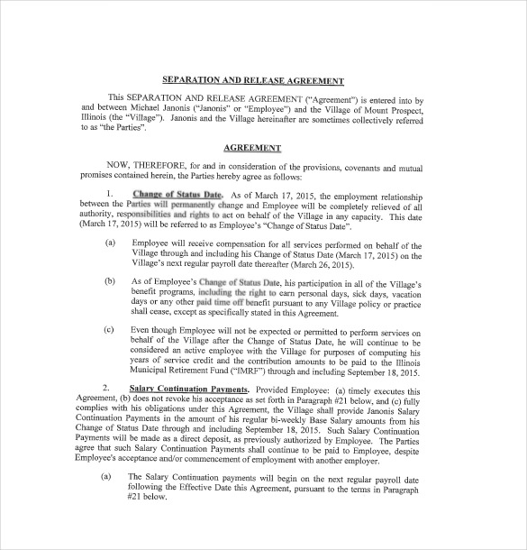 separation agreement template 13 separation agreement templates