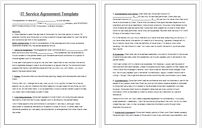 simple service agreement template it service agreement template