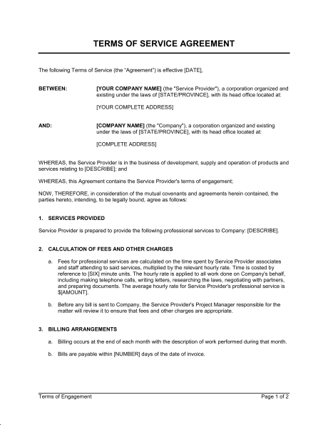 client service agreement template terms of service agreement