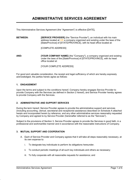 Administrative Services Agreement Template & Sample Form