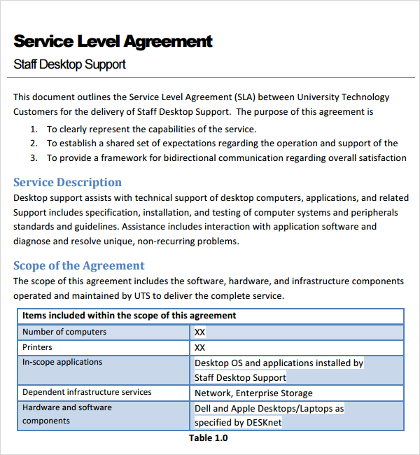 service agreement template doc customer service level agreement