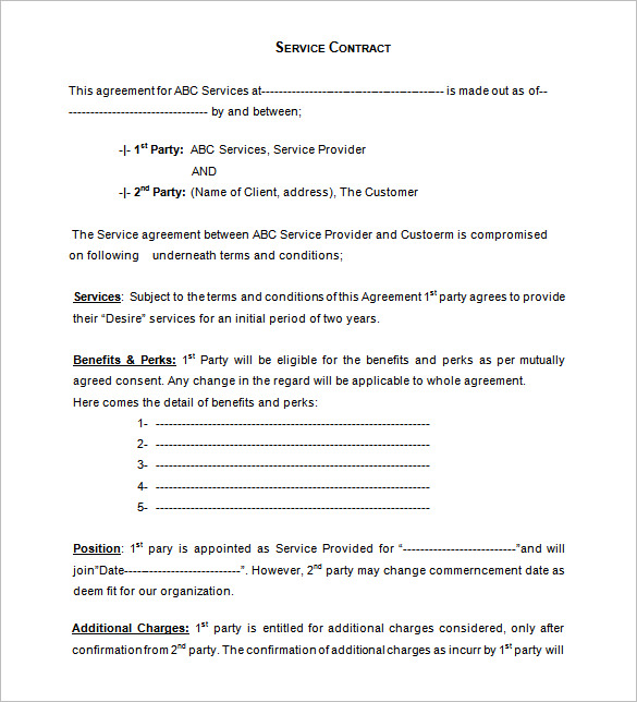 service agreement template free download service contract