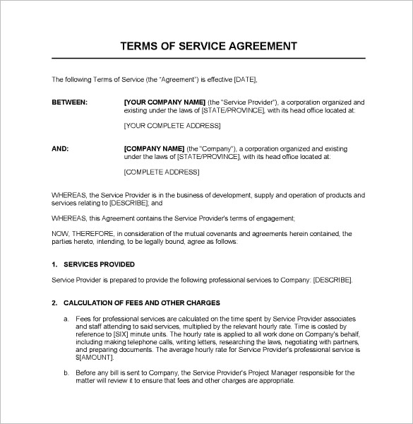 simple contracts for services