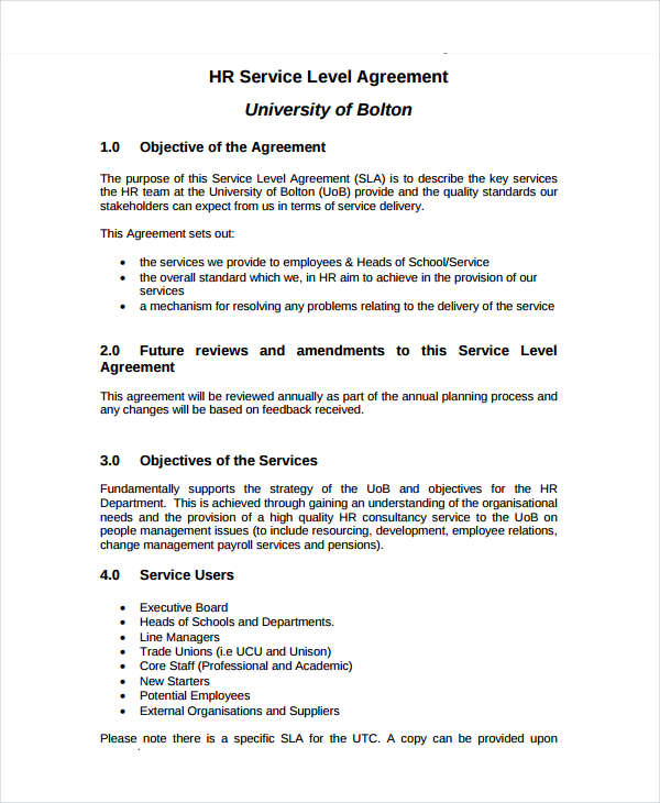 it services level agreement template 14 service level agreement