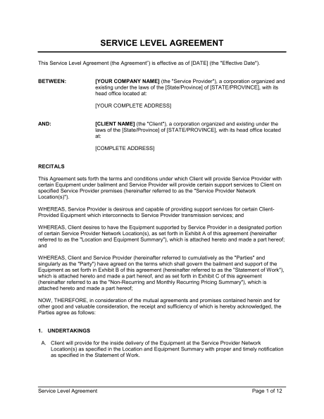 service level agreement template recruitment agency service level