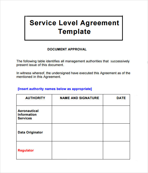 service license agreement template it support service level