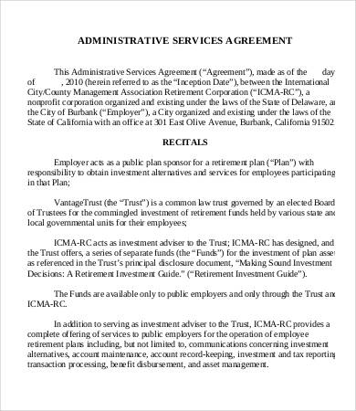 agreement for administrative services template administrative