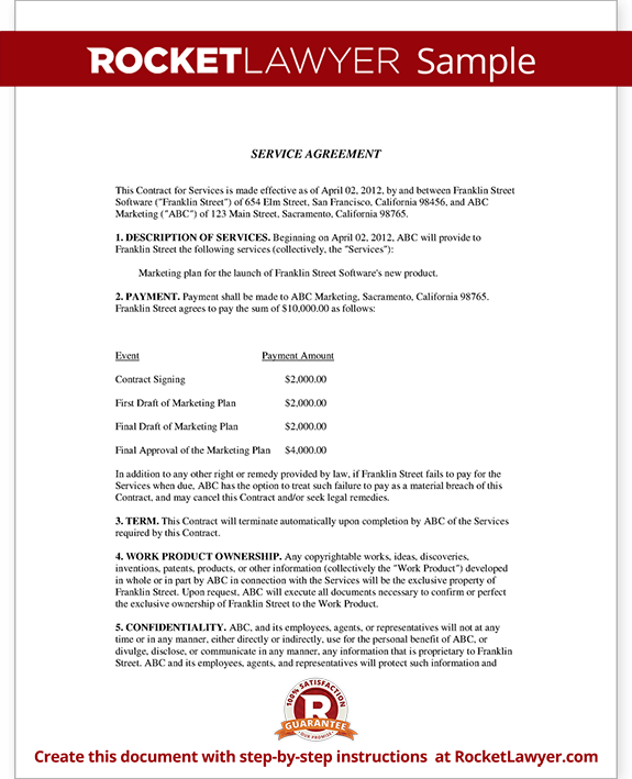 Service Agreement Contract Template (with Sample)