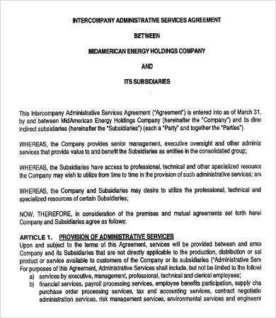 management services agreement between parent and subsidiary