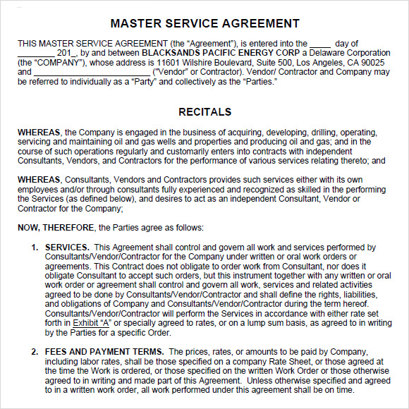 master services agreement template oil and gas sample master