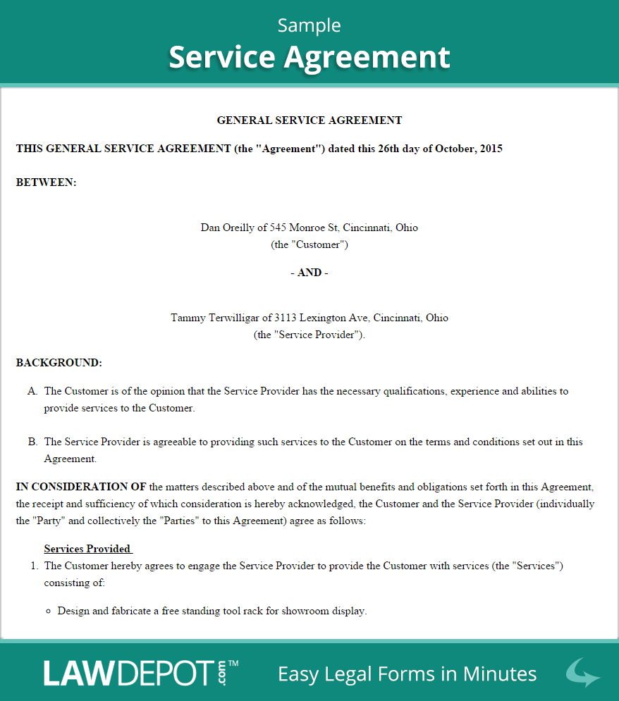 Service Agreement Form | Free Service Contract Template (US