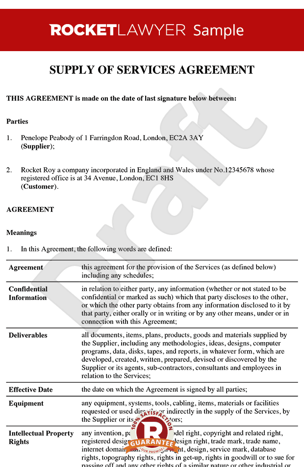 Service Contract Service Agreement Service Contract Template