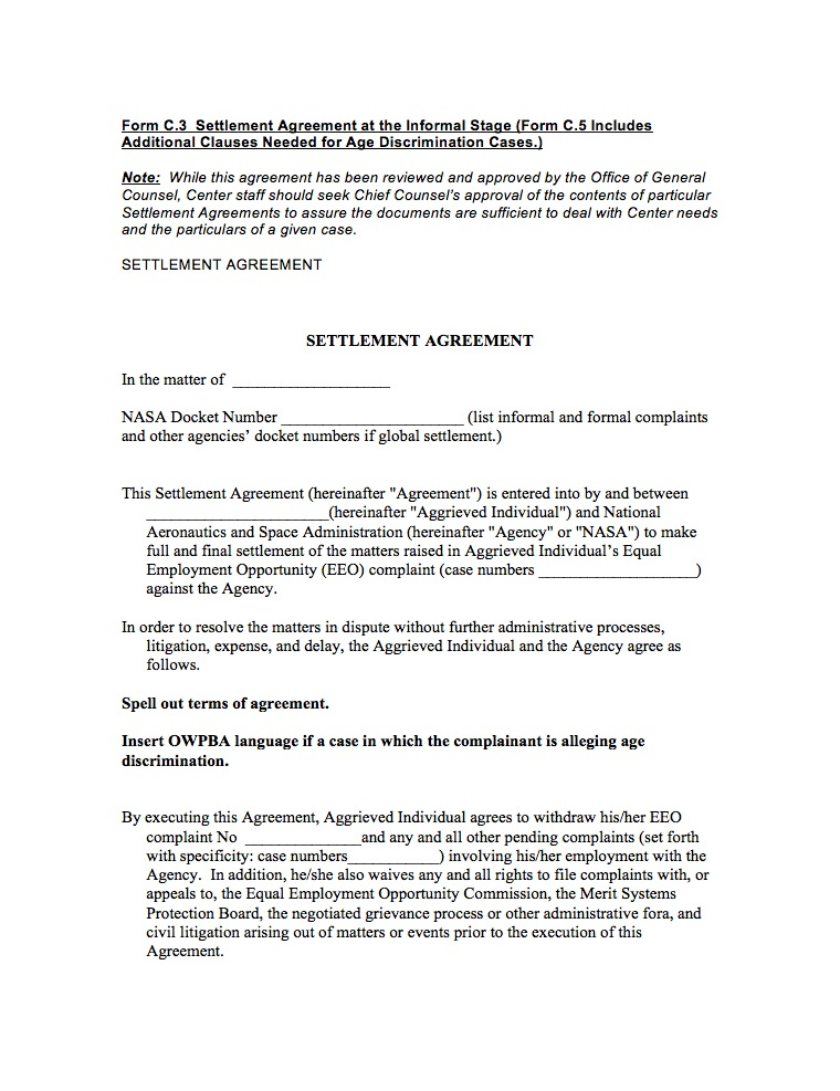 settlement agreement sample Ecza.solinf.co