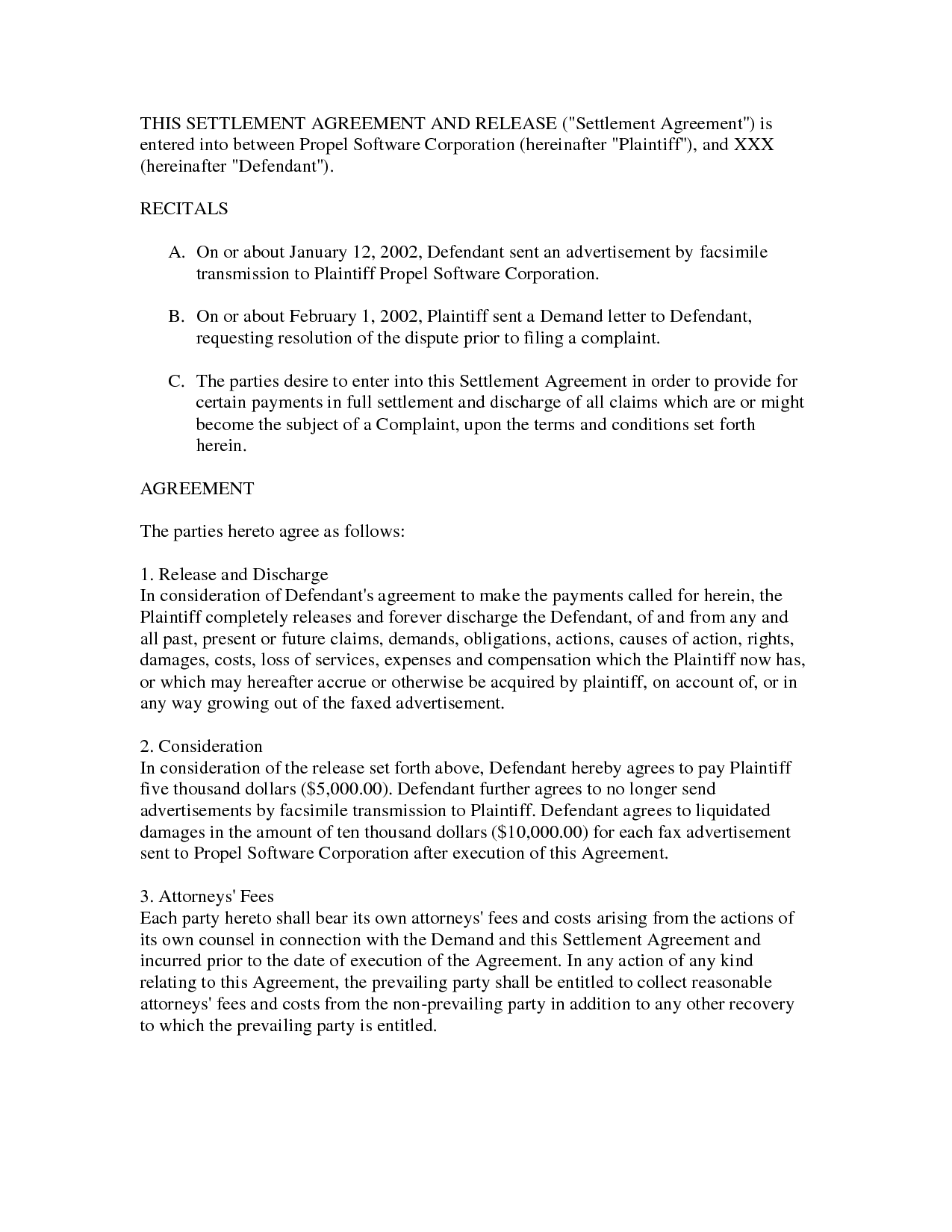 settlement agreement samples Ecza.solinf.co