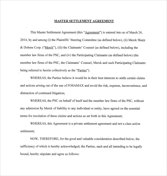 settlement agreement template sample master settlement agreement