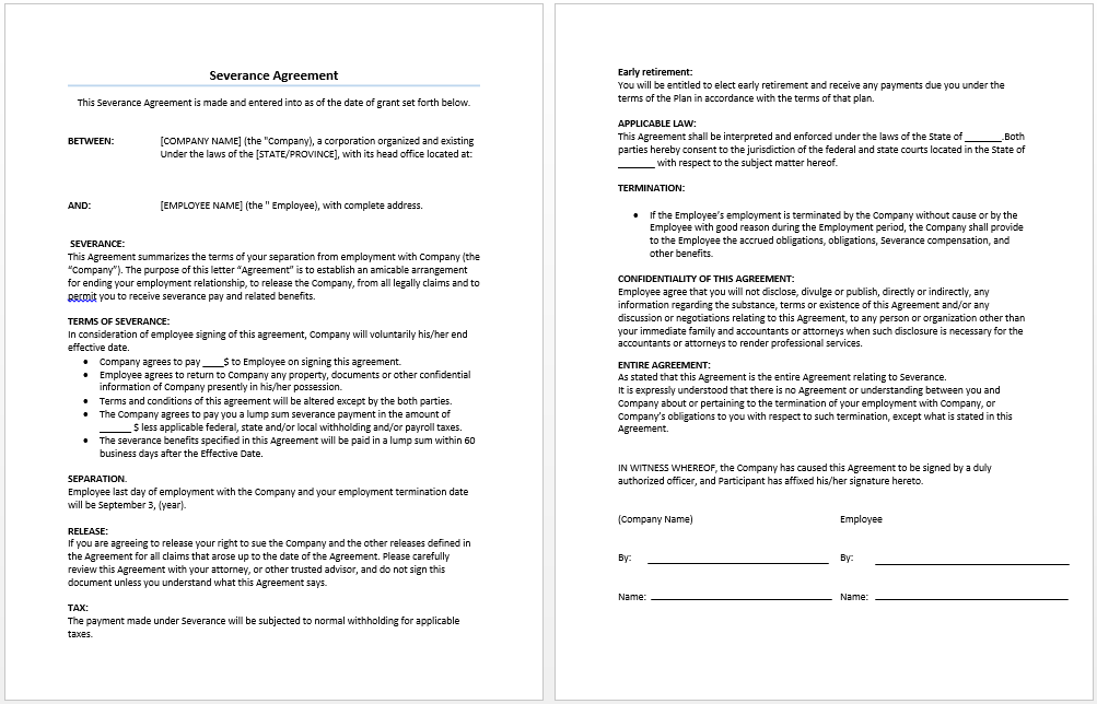 agreement not to sue template severance agreement template