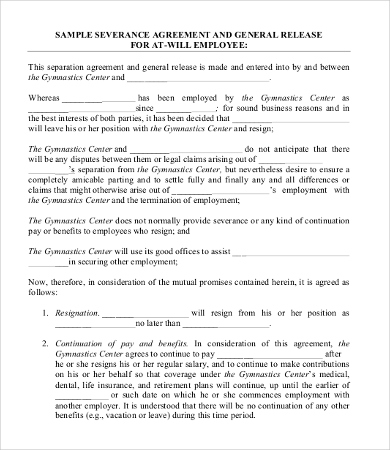 employee resignation agreement template severance agreement