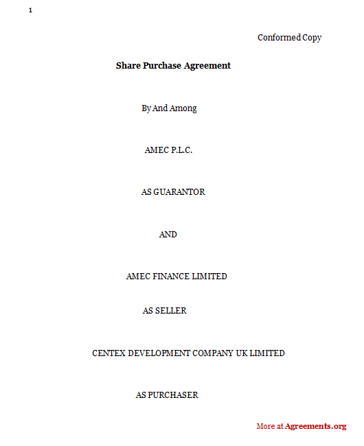 Share Purchase Agreement, Sample Share Purchase Agreement