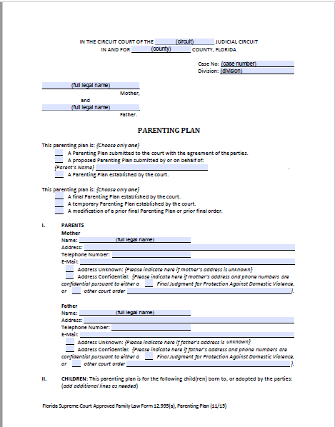 Florida Shared Parenting Plan Forms & Instructions