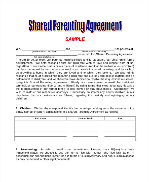 shared parenting agreement template parenting agreement templates