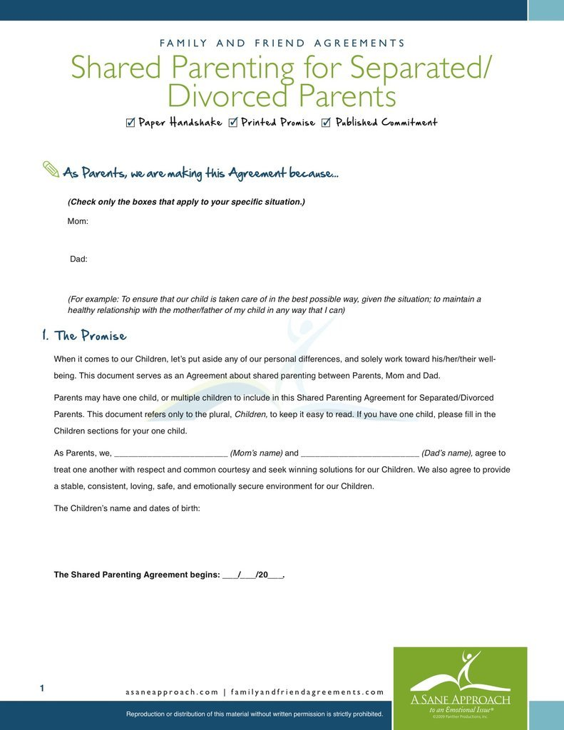 Shared Parenting Agreement PDF | Family and Friend Agreements/A