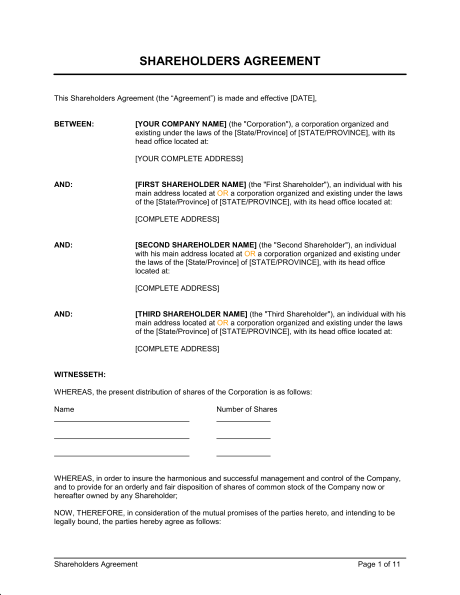 Shareholders Agreement Template & Sample Form | Biztree.com