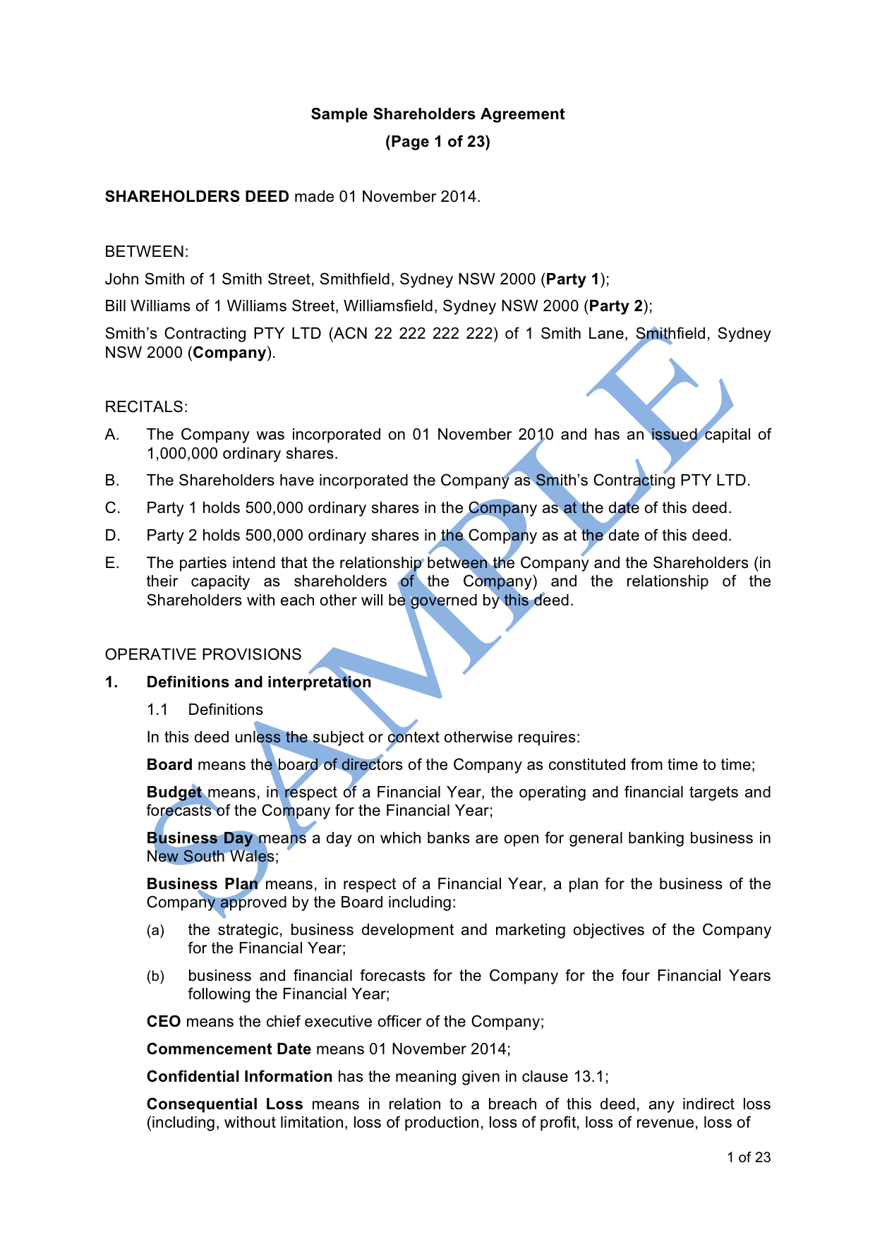 Shareholders Agreement Sample LawPath