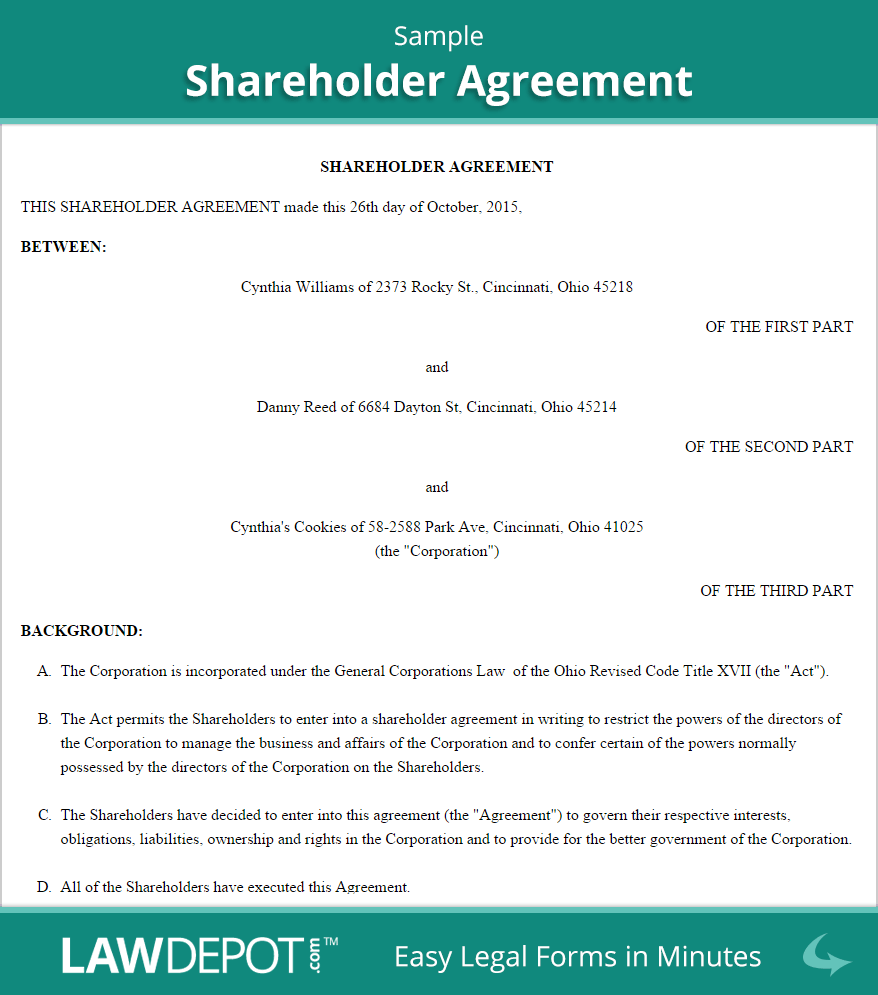 Shareholder Agreement Form (US) | LawDepot