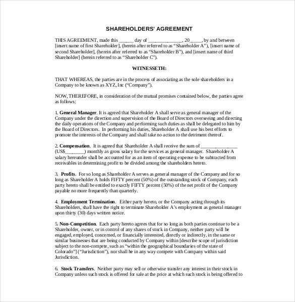 free shareholder agreement template 13 shareholder agreement