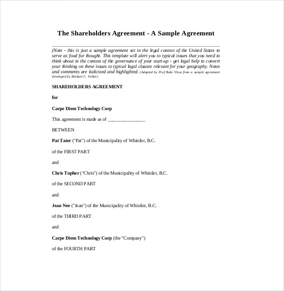 shareholder agreement template free simple shareholders agreement