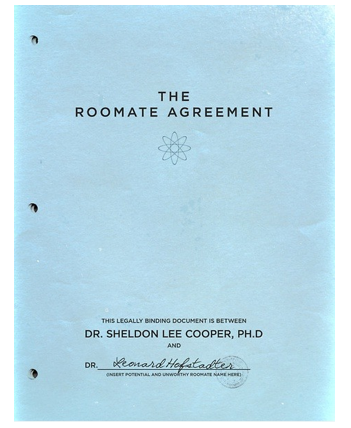 What rules are listed in Sheldon Cooper's roommate agreement? Quora