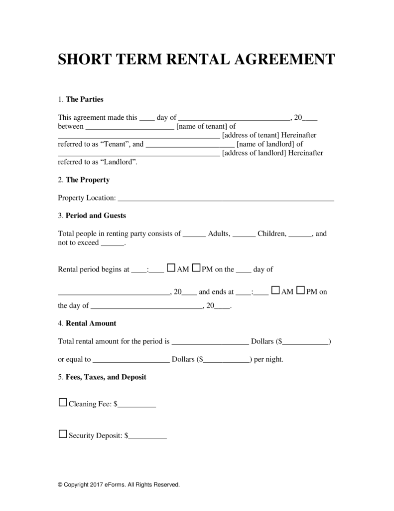Free Vacation Short Term Rental Lease Agreement Word