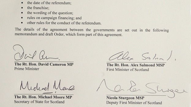 Agreement signed by David Cameron and Alex Salmond ITV News