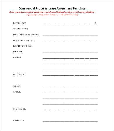 Commercial Lease Agreement Template 9+Free Word, PDF Documents