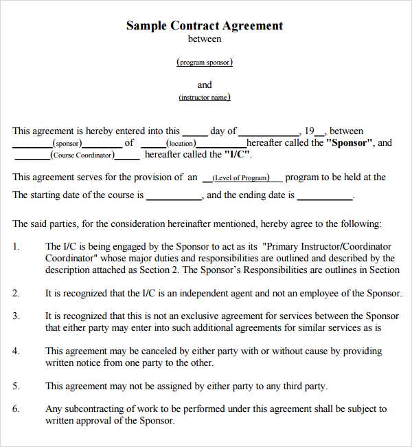 agreement template between two parties word agreement template