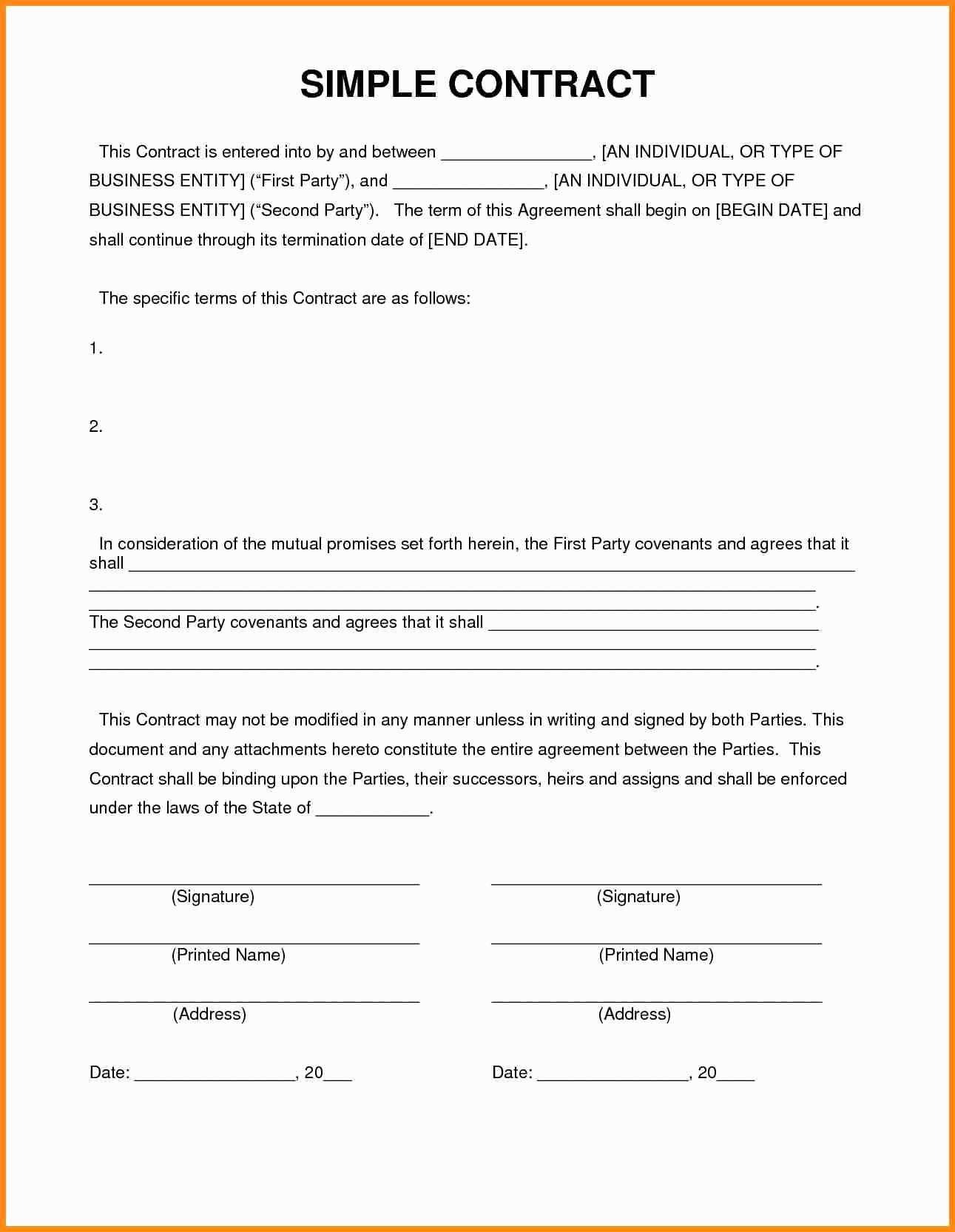 Free Contractor Agreement Awesome 9 Simple Contractor Agreement