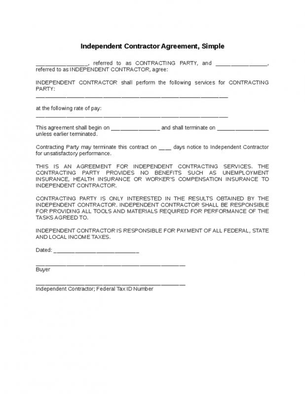 simple independent contractor agreement template simple
