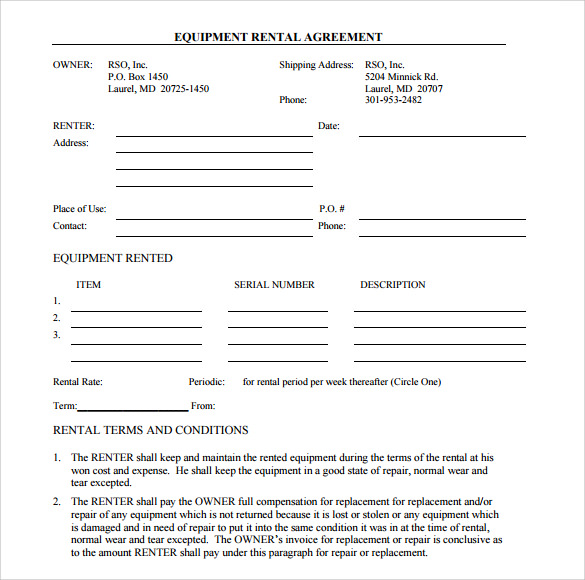 simple equipment loan agreement template 14 equipment rental