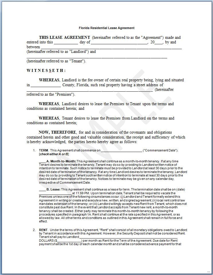 Florida Residential Lease/Rental Agreement | Create & Download