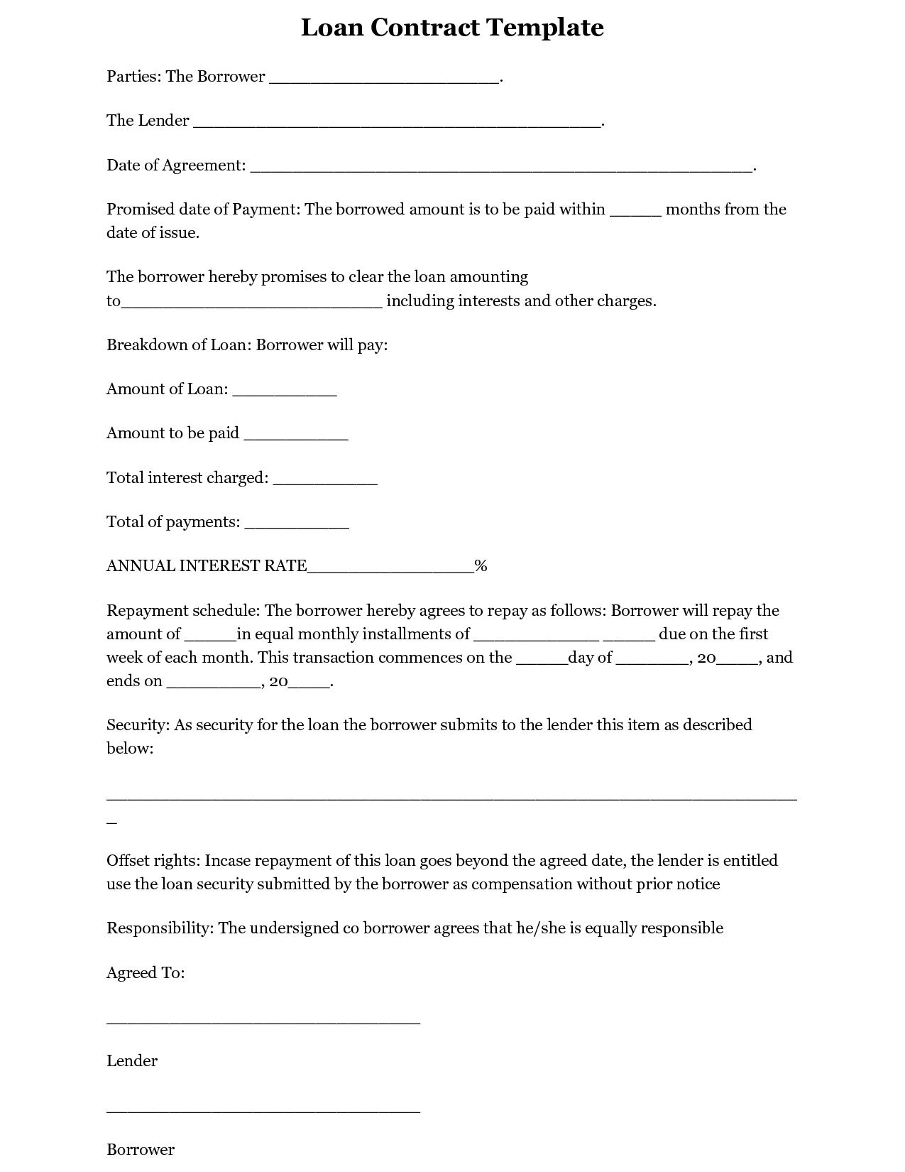 simple interest loan agreement template | koco yhinoha simple
