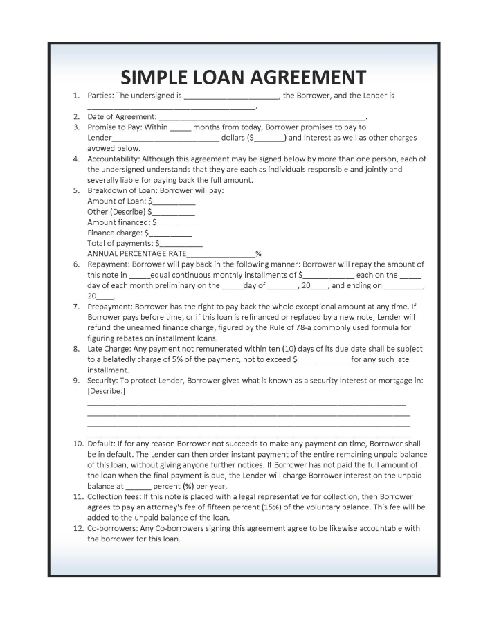 Simple Loan Agreements Simple Loan Agreement Template Word