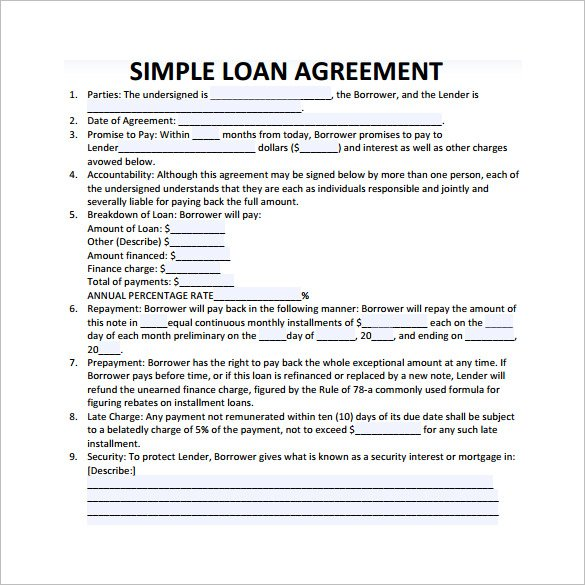 Download Simple Loan Agreement Template | PDF | RTF | Word