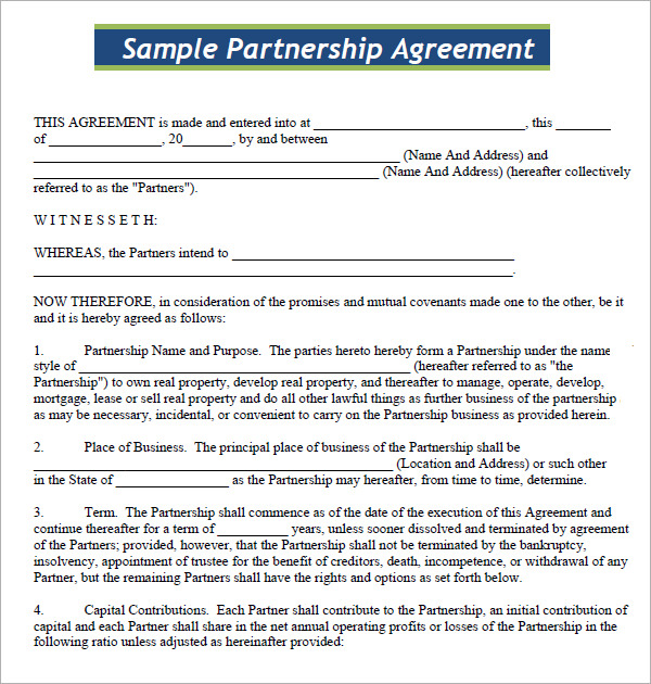 simple partnership agreement template business partnership